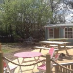Our new deck, reception & shop